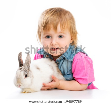 cute baby and easter bunny on white background - stock photo