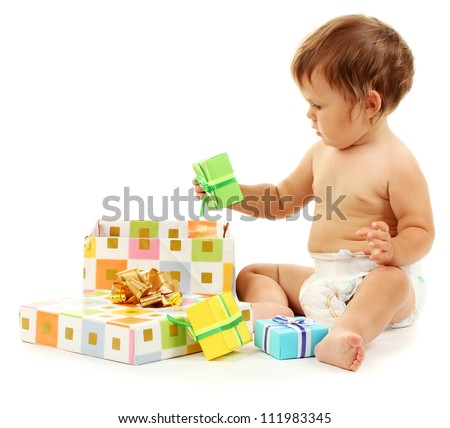 Cute baby and gift box isolated on white - stock photo