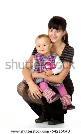 cute baby and young girl, isolated on white background - stock photo