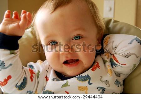 Cute Baby at Breakfast - stock photo