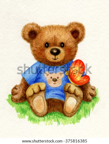 Cute baby bear holding butterfly, watercolor. - stock photo