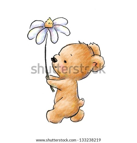 cute baby bear walking with flower - stock photo