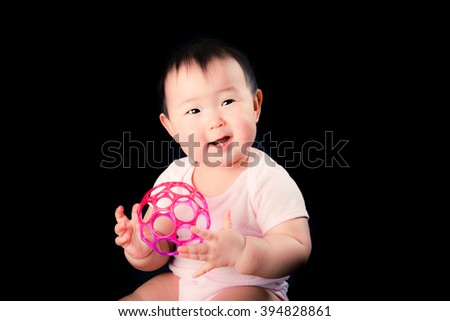 Cute baby, Black Background
