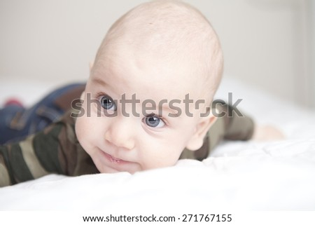 Cute baby boy, closeup portrait of adorable boy with blue eyes, healthy childhood, perfect Caucasian infant, lovely kid, innocence concept - stock photo