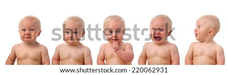 Cute  baby boy, different expressions  - stock photo