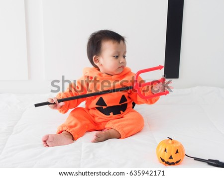 Cute baby boy dressed in pumpkin costume with Jack-ou0027-lantern and Devil  sc 1 st  Shutterstock & Cute Baby Boy Dressed Pumpkin Costume Stock Photo (Safe to Use ...