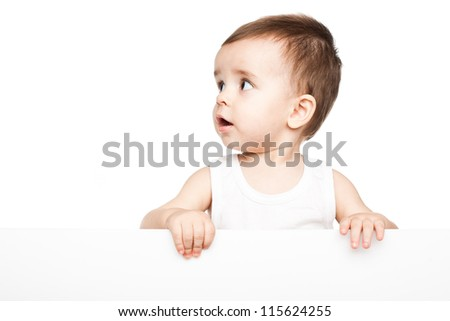 Cute baby boy holding empty blank board isolated on white background - stock photo
