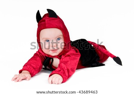 Cute baby boy in halloween outfit on isolated background - stock photo