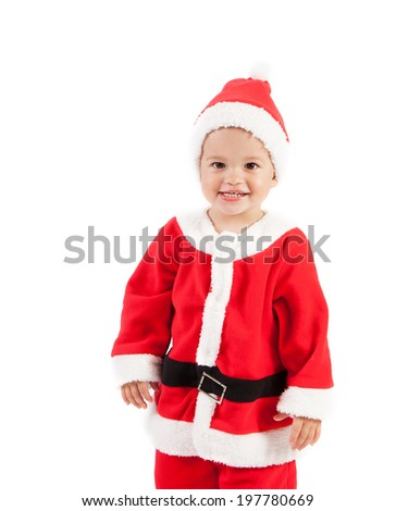 Cute  baby boy in Santa Claus clothes