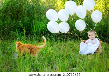 Cute baby boy in the basket with white balloons near the red cat  outdoor in the summer  - stock photo