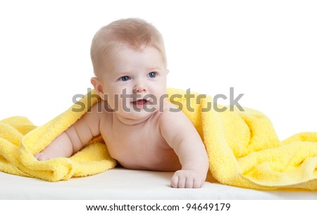 cute baby boy in yellow towel on white - stock photo