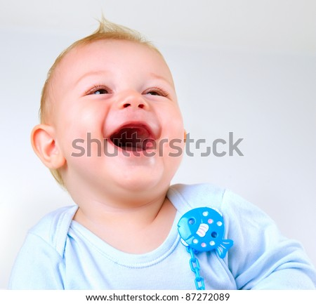 Cute Baby Boy Laughing - stock photo
