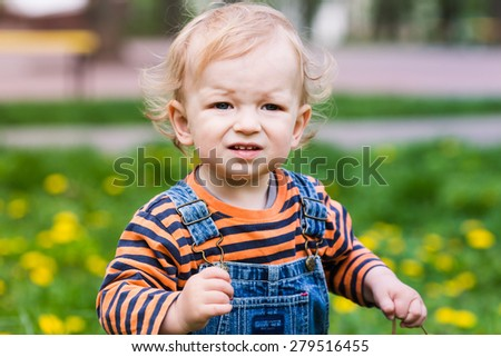 Cute baby boy on a lawn with dandelions summertime - stock photo