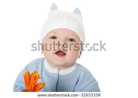 cute baby boy on white background - stock photo