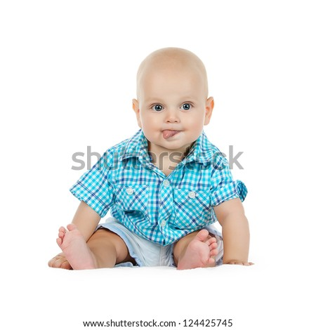 Cute baby boy on white background with isolation path