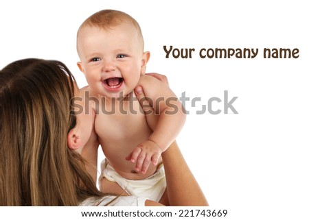Cute baby boy with mom isolated on white - stock photo