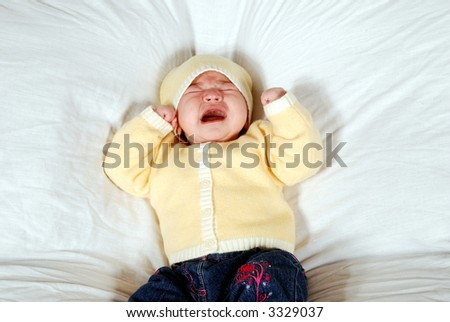 cute baby crying - stock photo
