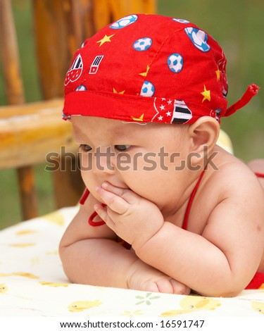 cute baby, 100 days old. - stock photo