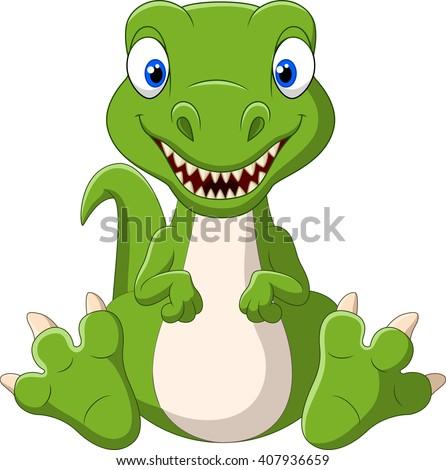 Cute baby dinosaur cartoon - stock photo