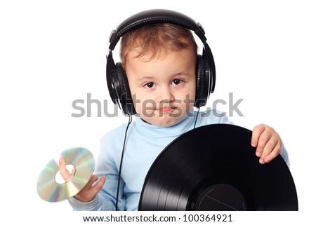 Cute baby dj - stock photo