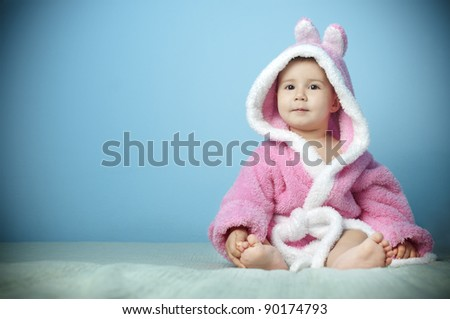 cute baby Easter Bunny Hat - stock photo