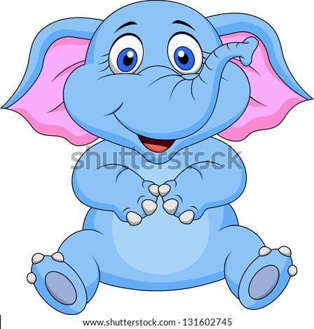 Cute baby elephant cartoon - stock photo