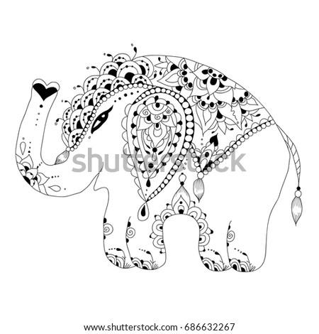 cute baby elephant in zen tangle style digital stamp coloring page - Cute Baby Elephant Coloring Pages