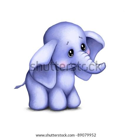 Cute baby elephant on white background - stock photo
