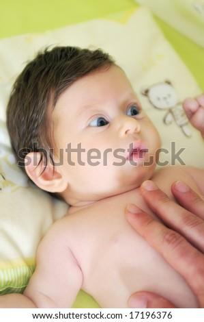 cute baby face closeup - stock photo