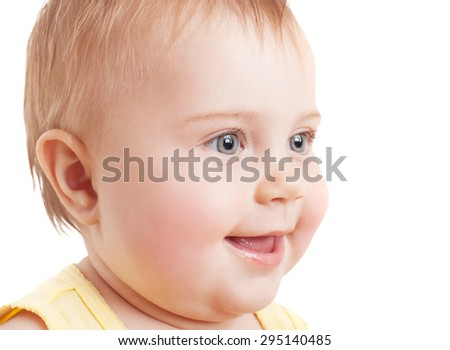 Cute baby face, closeup portrait of happy smiling toddler isolated on white background, healthy lifestyle and carefree childhood - stock photo