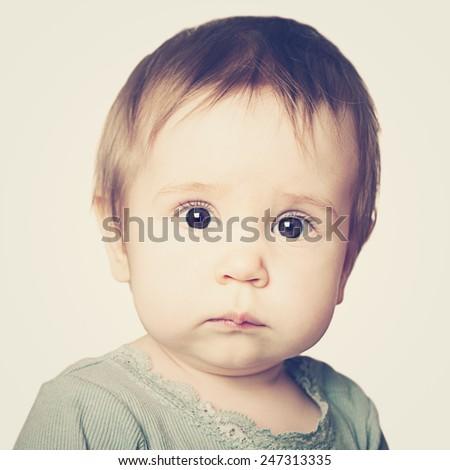 Cute baby face, portrait - stock photo