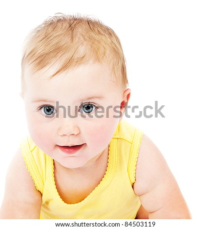 Cute baby face portrait isolated on white background - stock photo