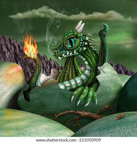 Cute baby fire breathing dragon hatching from a green egg at night - stock photo