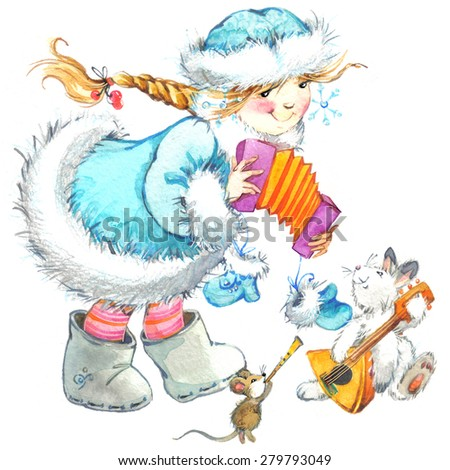 cute baby girl and funny animals. winter holidays background for Christmas and New Year. watercolor illustration - stock photo
