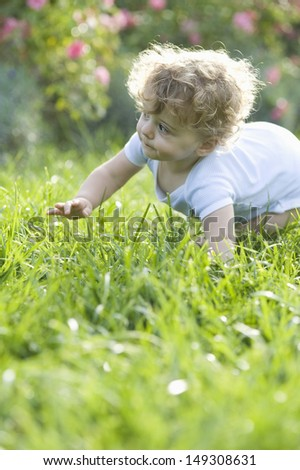 Cute baby girl crawling on grass in lawn - stock photo