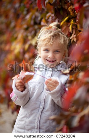 Cute baby girl in autumn leaves - stock photo