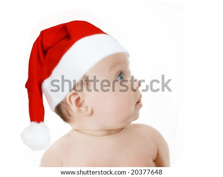 cute baby girl in Christmas red hat,  profile on white background, space for text - stock photo