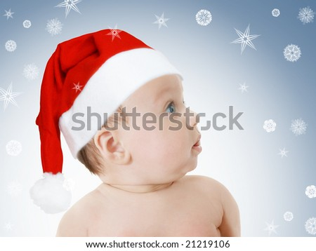cute baby girl in Christmas red hat, profile, snowflakes background - stock photo