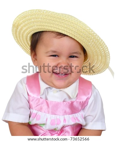 Cute baby girl in spring Easter outfit, isolated on white background - stock photo