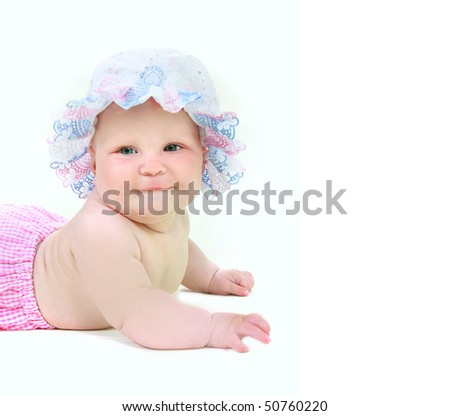 cute baby girl in summer hat over white - stock photo