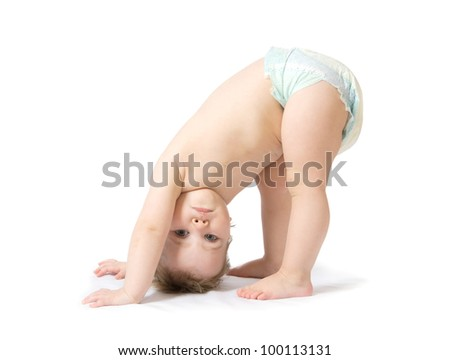 cute baby girl  isolated on white - stock photo