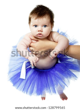 cute baby girl like a ballet dancer in blue tutu, isolated on white background - stock photo