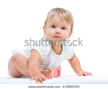 cute baby girl over white background - stock photo