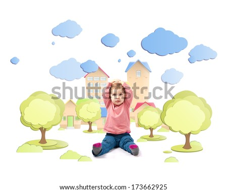 Cute baby girl surprised outdoor - stock photo
