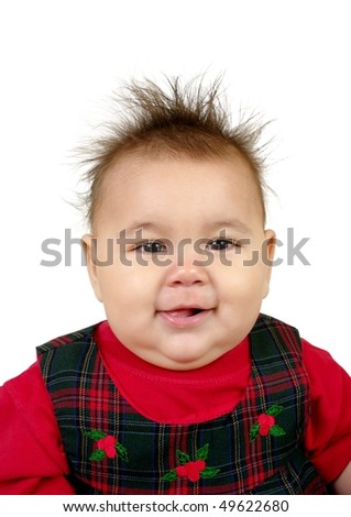 Cute Baby Girl With Funny Spiky Hair Isolated On White