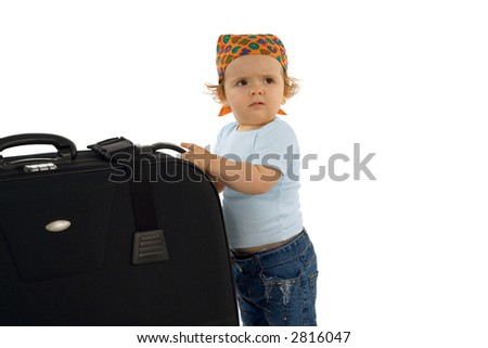 Cute baby girl with huge luggage - asking for help (isolated, with copy space) - stock photo