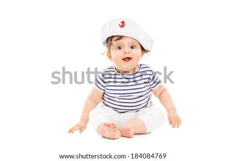 Cute baby girl with sailor hat isolated on white background - stock photo
