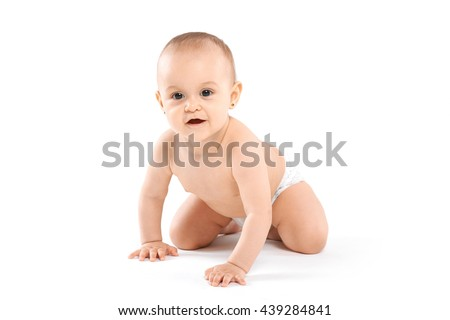 cute baby lying naked on white background