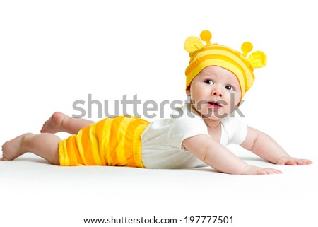 cute baby lying on stomach - stock photo