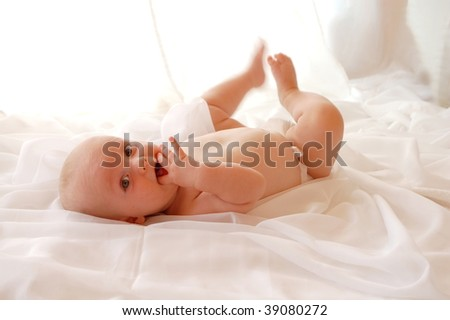 Cute Baby on white - stock photo